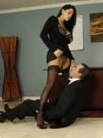 Nasty BDSM office slut Mikayla humiliating and dominating a male employe